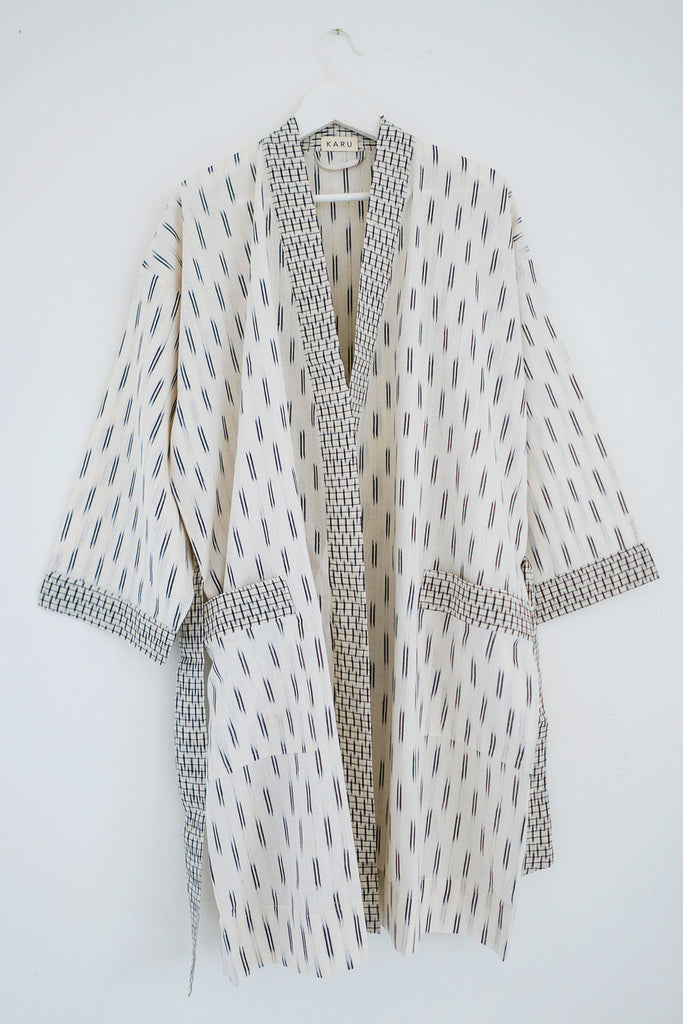 Ikat Robe in Ivory