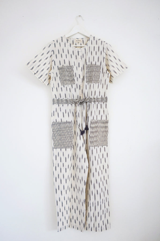 Hand loomed jumpsuit in Ivory