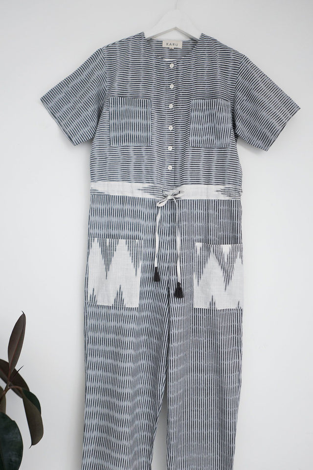 Hand loomed Jumpsuit in Monochrome