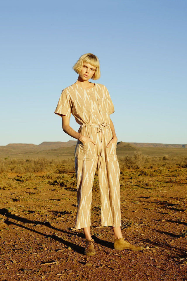Hand loomed Jumpsuit in Tan