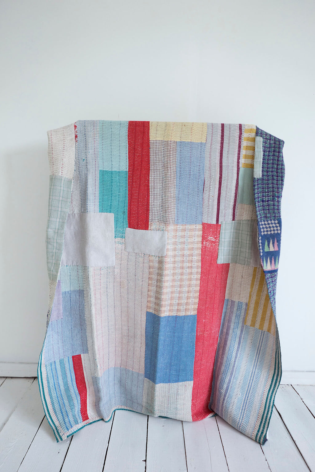 Vintage Kantha Quilt with Colorful Patchwork