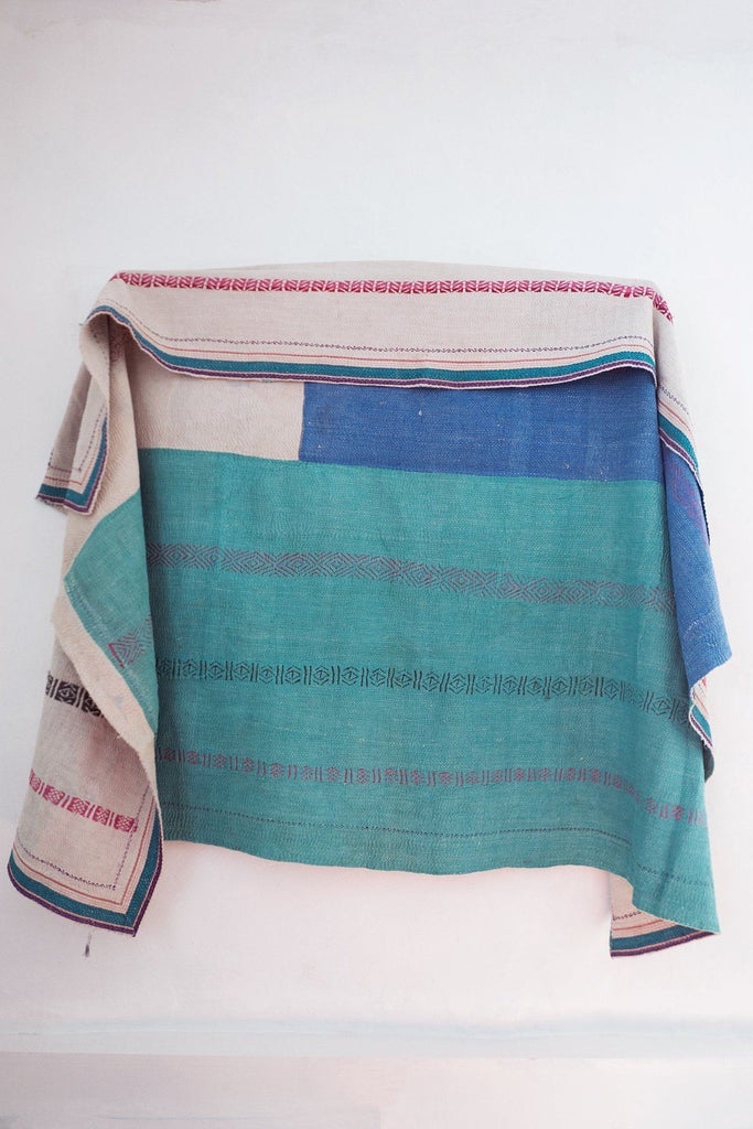 Vintage Kantha Quilt with Embroidery