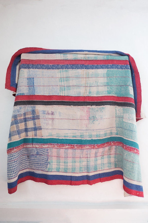 Vintage Kantha Quilt with Red Stripes