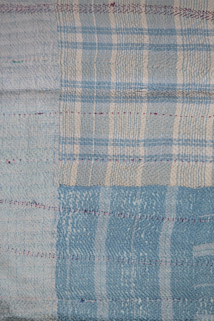 Vintage Kantha Quilt with Blue and White Check