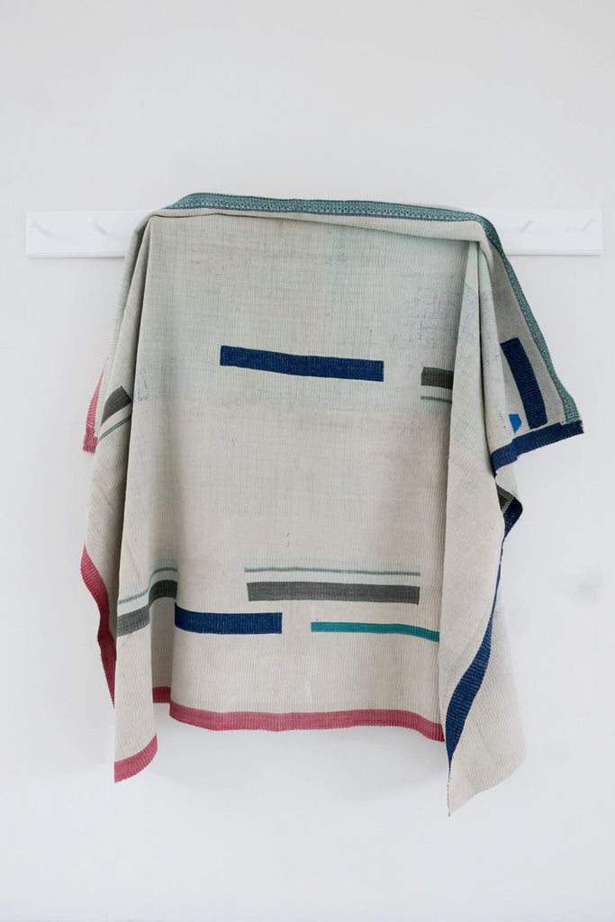 Vintage Kantha Quilt with Abstract Stripes