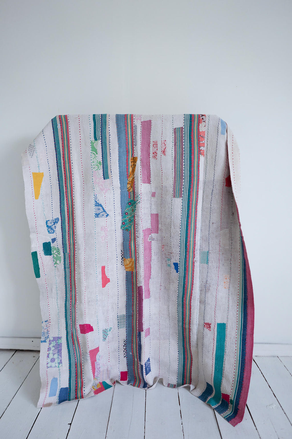 Vintage Kantha Quilt with Pink and Yellow Patches