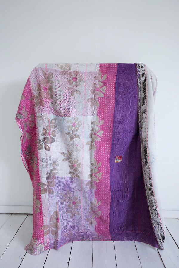 Vintage Kantha Quilt in Pink and Purple