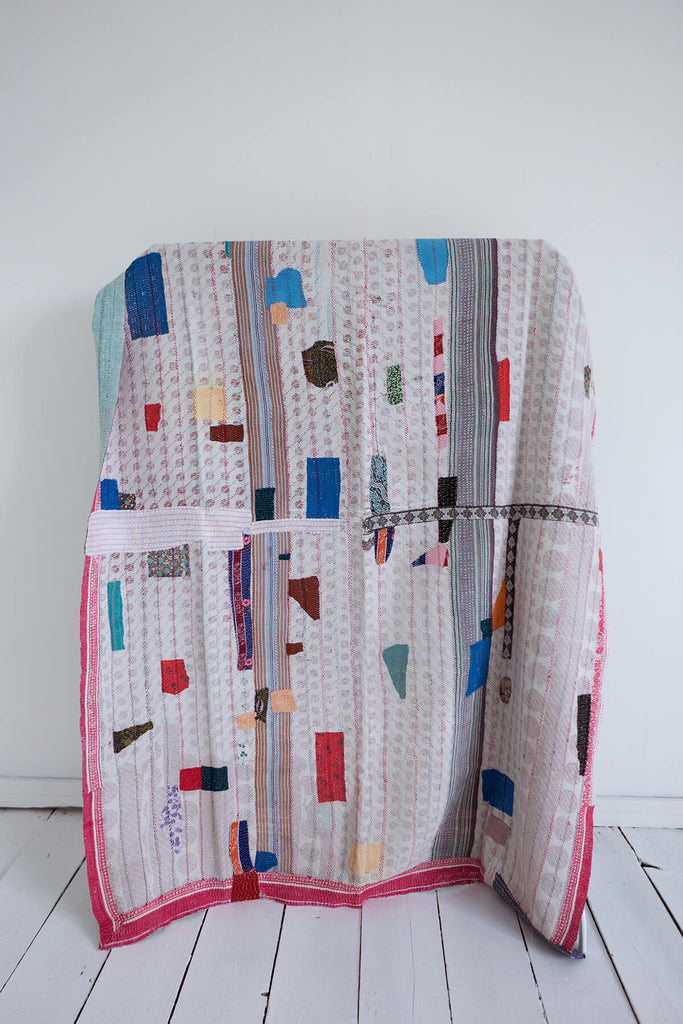 Vintage Kantha Quilt with Pink and Red Border