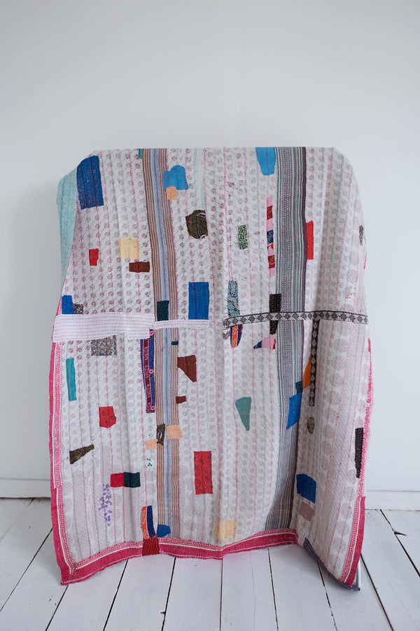 Kantha Quilt with Pink and Red Border