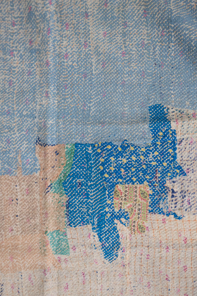 Vintage Kantha Quilt with Multicolor Patchwork