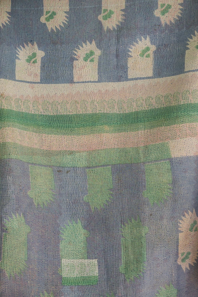 Vintage Kantha Quilt with Abstract Pattern