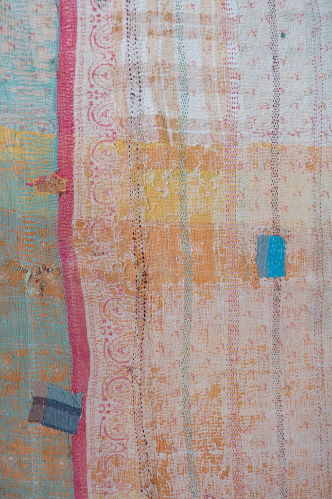 Vintage Kantha Quilt with Orange Patchwork