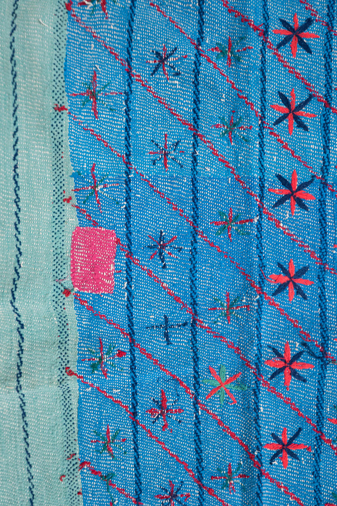 Vintage Kantha Quilt in Cobalt Blue with Embroidery