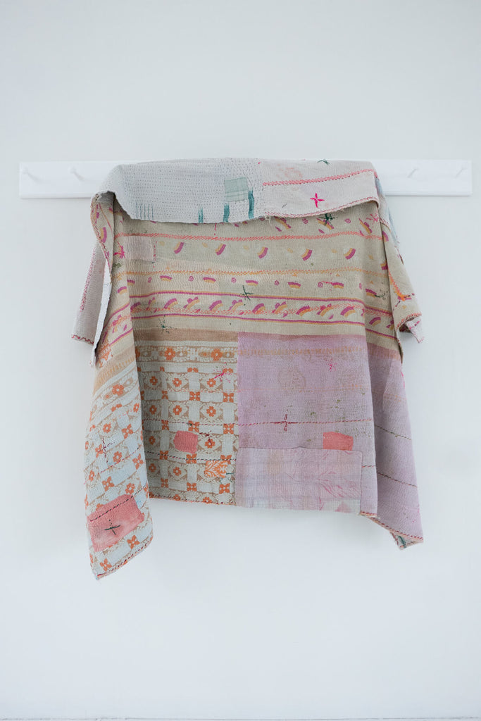 Vintage Kantha Quilt in Pastel Colors