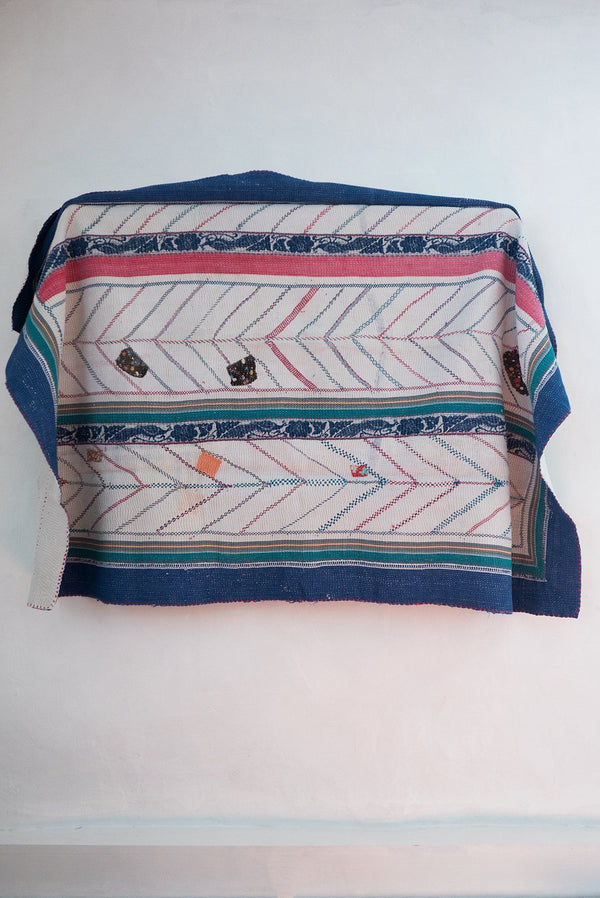 Vintage Kantha Quilt with Blue Border