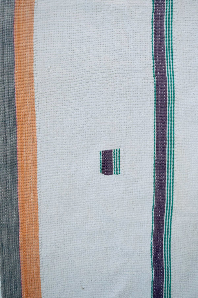 Vintage Kantha Quilt with Peach and Grey Stripes