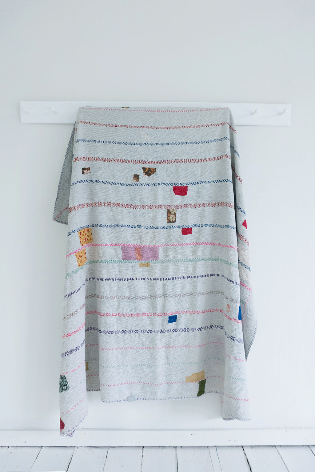 Vintage Kantha Quilt with Pink Patch