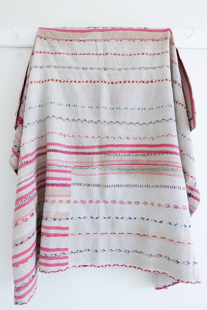 Vintage Kantha Quilt in Pinks and White