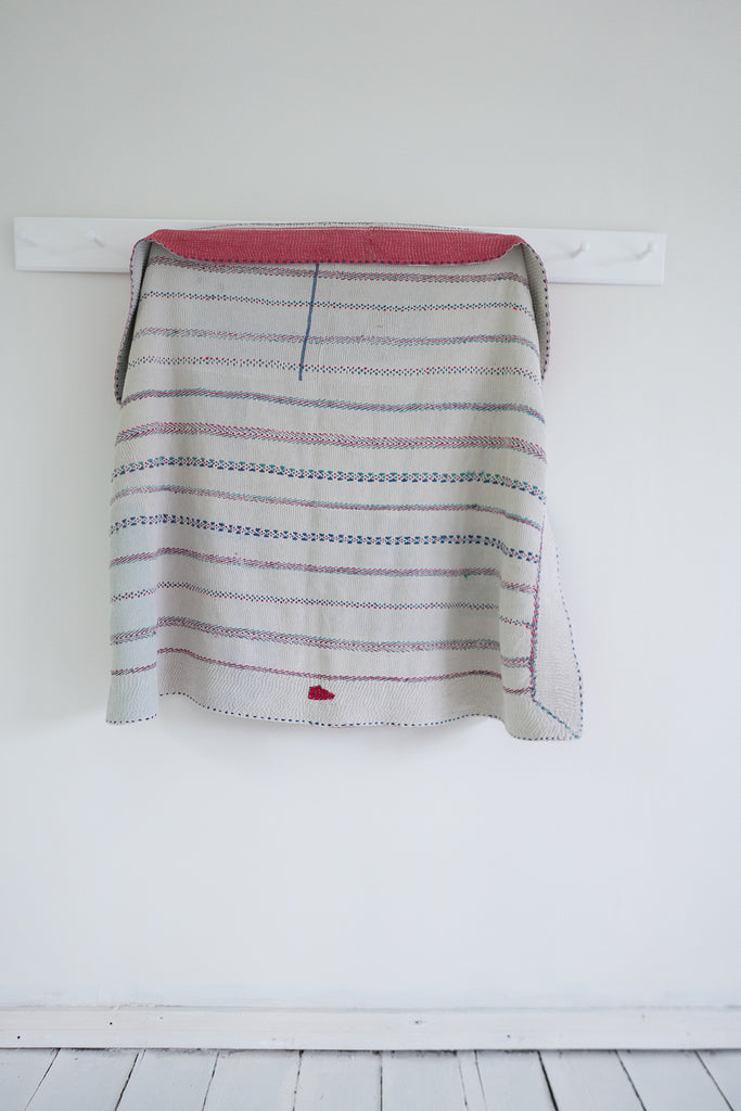 Vintage Kantha Quilt with Red Border