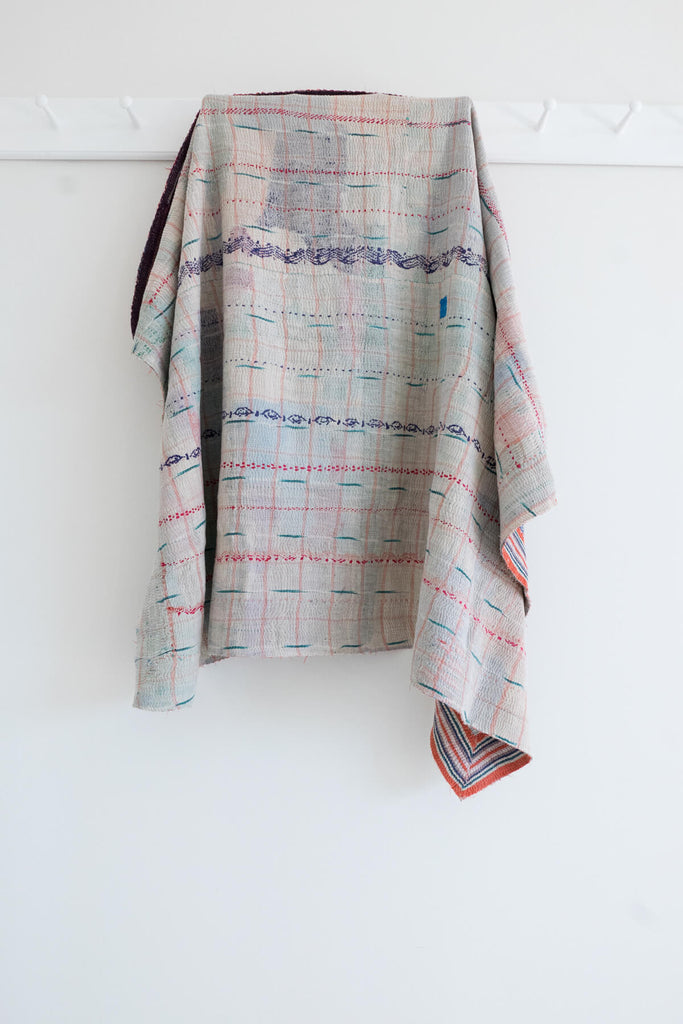 Vintage Kantha Quilt in Teal and White