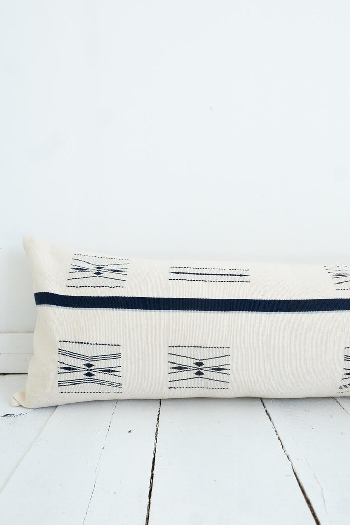Nagaland Lumbar Pillow in Ivory and Midnight