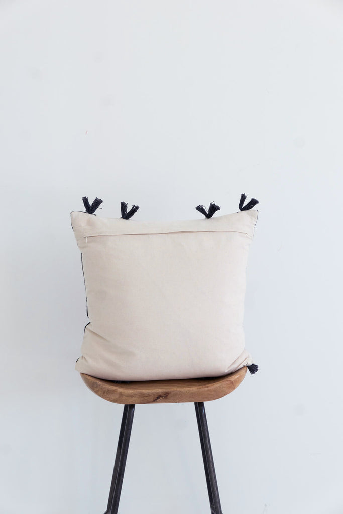 Nagaland Cushion in Cream with Tassels