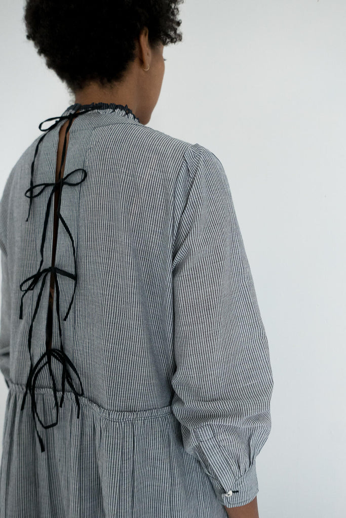 Poet Dress in Grey Khadi Cotton
