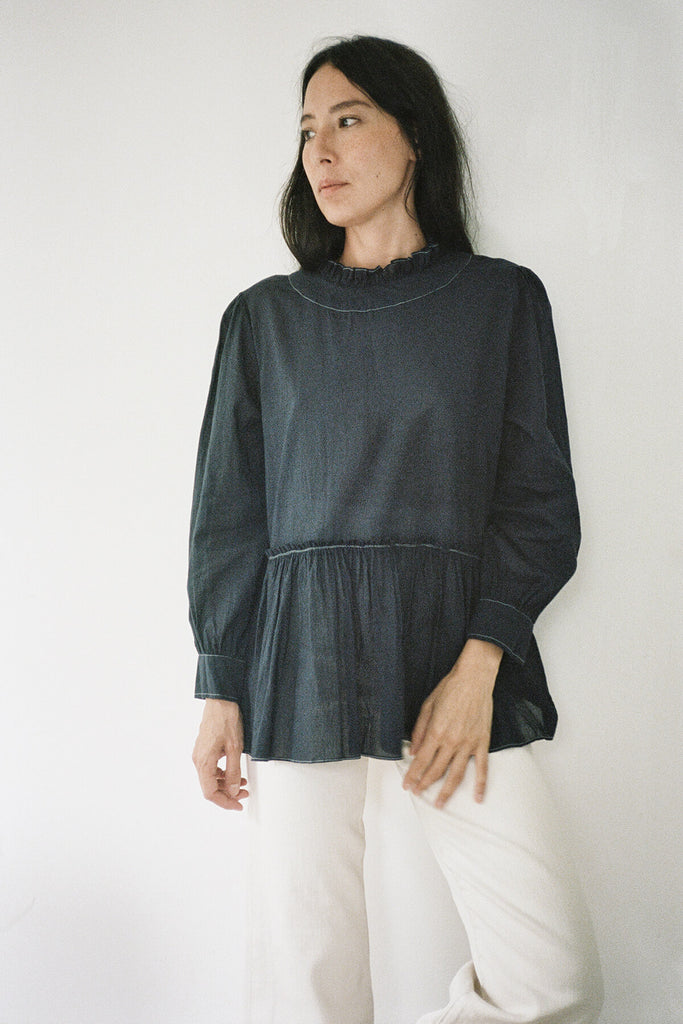 The Poet Blouse in Midnight