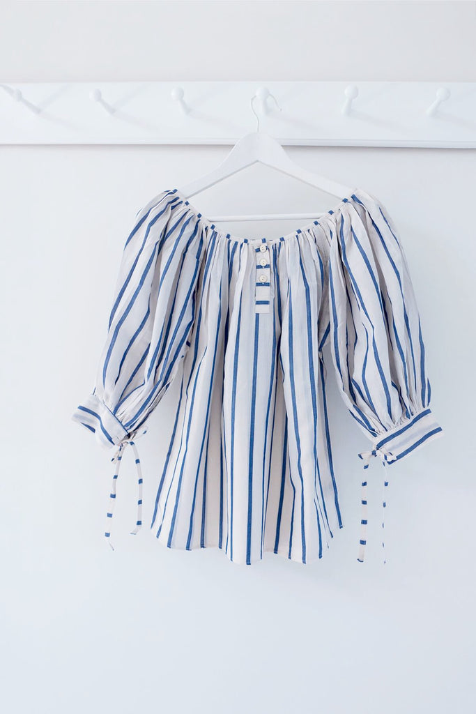 Striped Ikat Puff Blouse