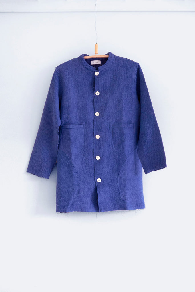 Kantha Stitch Rindle Jacket in Ceramic Blue
