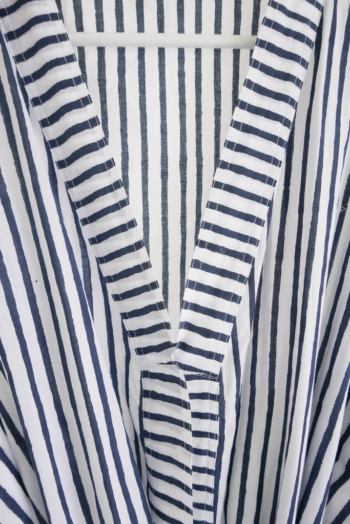 Striped Robe in Midnight Blue