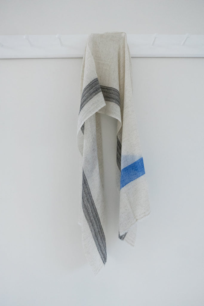 Wool Scarf in Blue and Grey