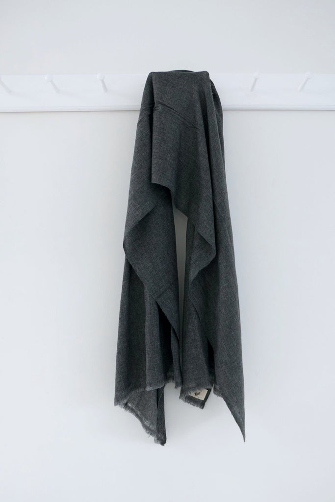 Wool Scarf in Charcoal Grey