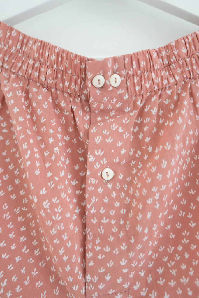 Scrub Print Shorts in Dusty Pink Clay