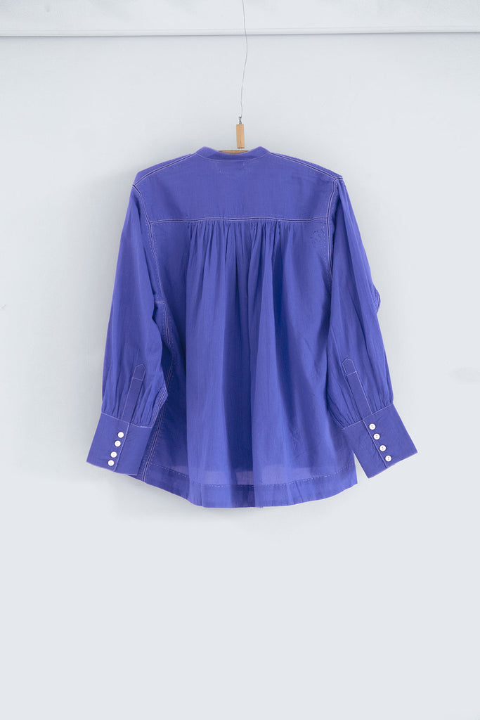The Potter's Blouse in Ceramic Blue