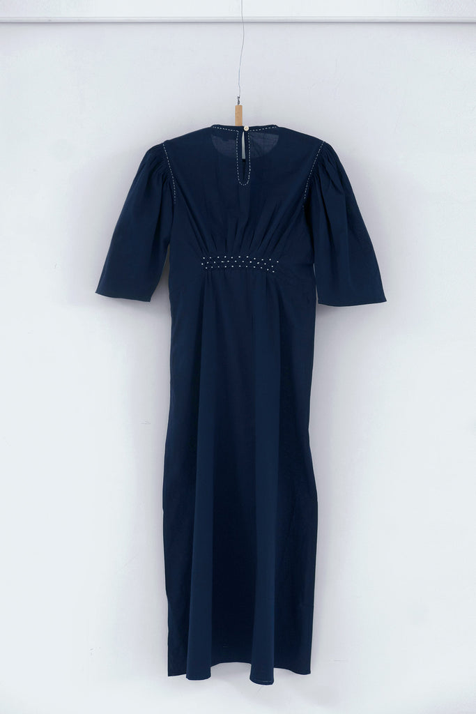 Dairy Dress in Midnight Blue Cotton