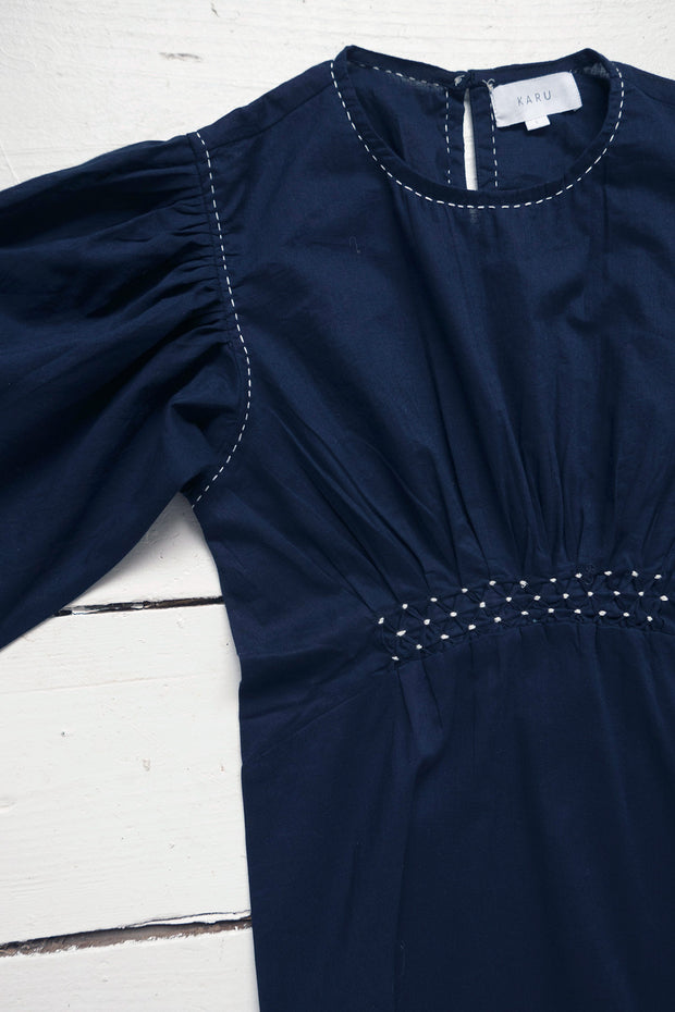 Dairy Dress in Midnight Blue Cotton 1