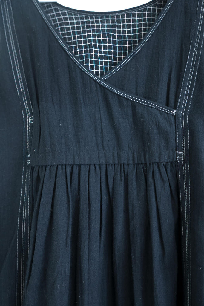 Webstitch Dress in Black Khadi Cotton