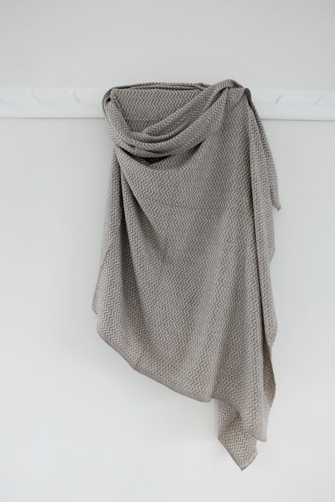 Woven Wool blanket in Taupe and Cream