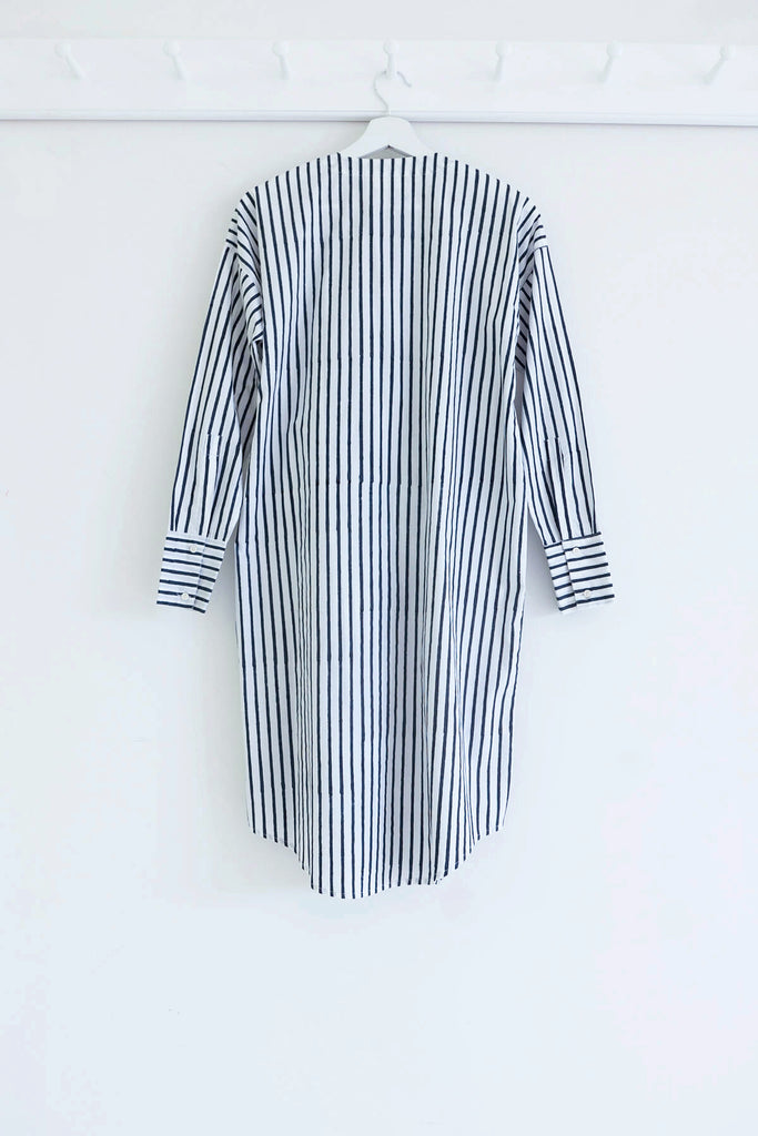 Wraparound Shirt Dress in Midnight Stripe