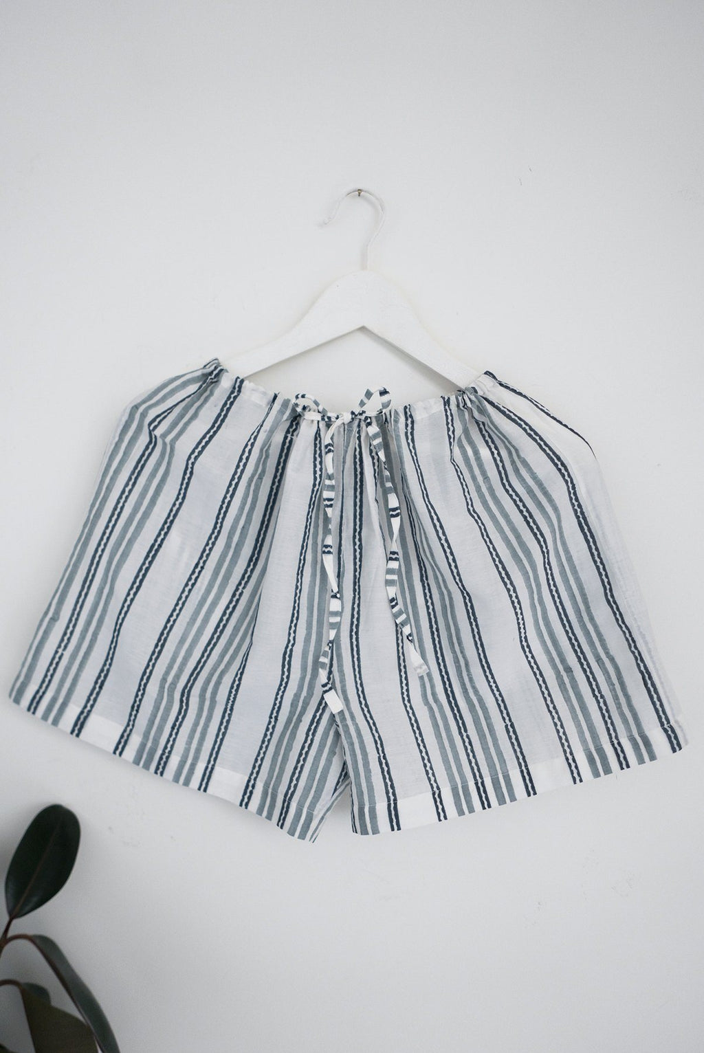 Striped Cotton Silk Sleep Shorts