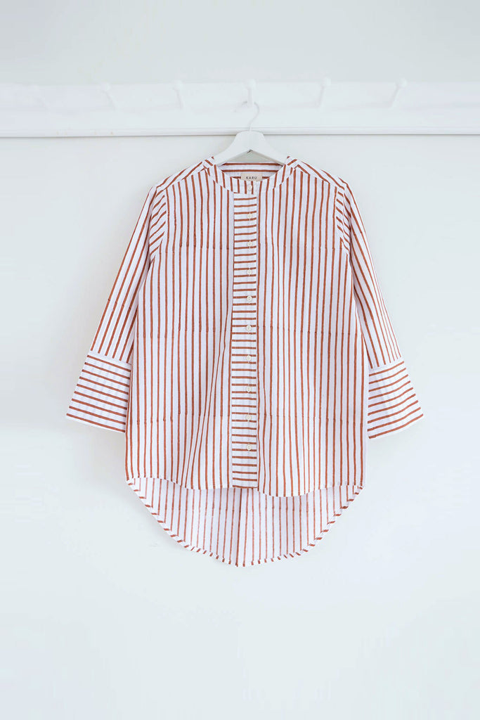 Striped Boyfriend Shirt in Terracotta
