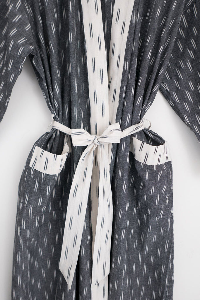 Ikat Robe in Grey and Ivory