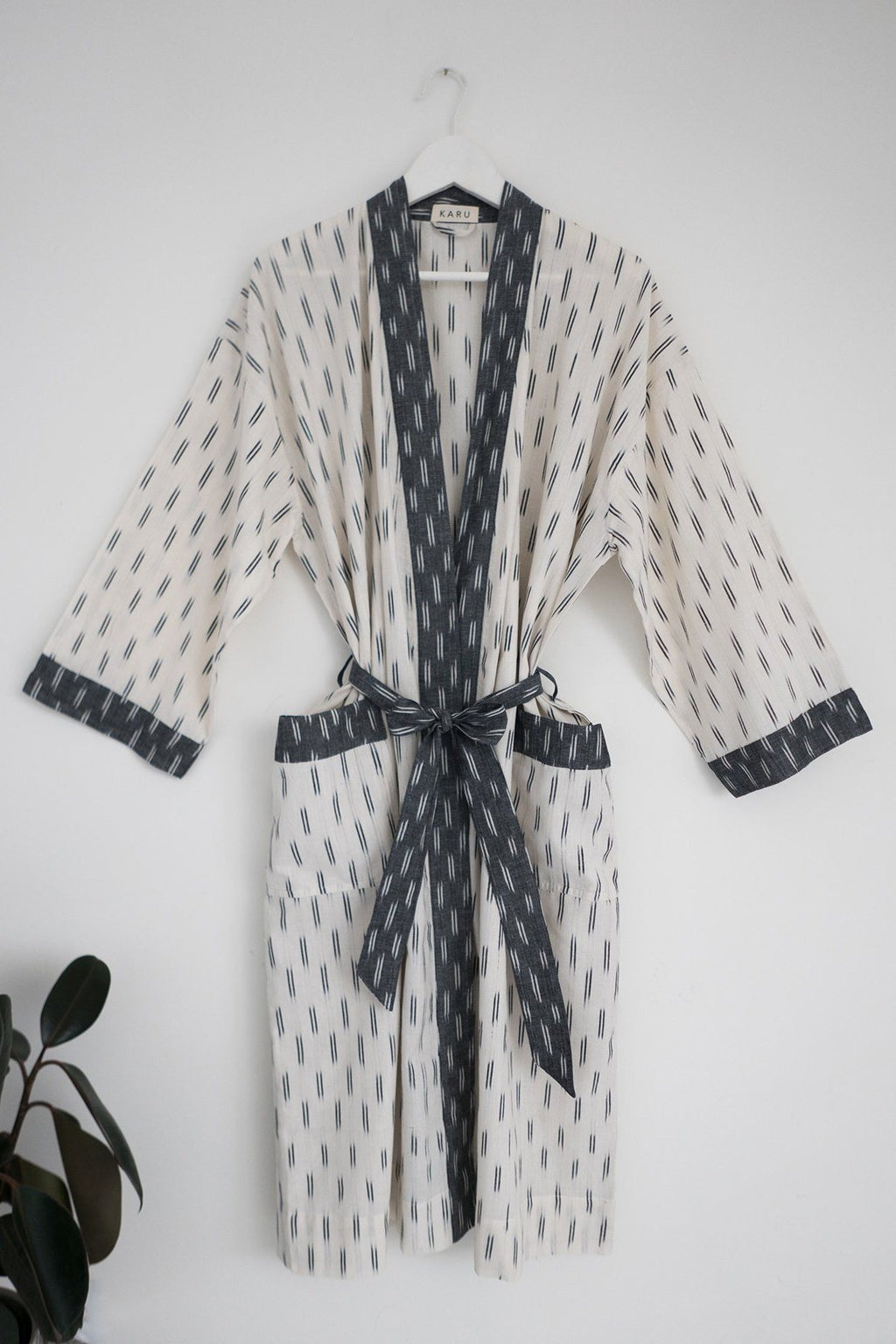 Ikat Robe in Ivory and Grey