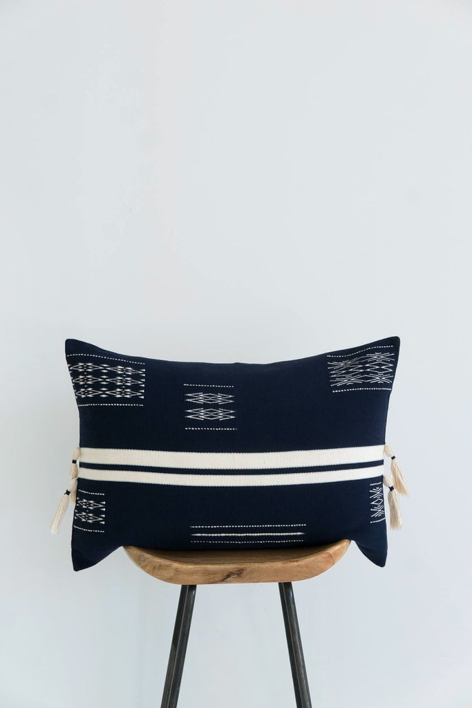 Montagu Bolster Cushion in Midnight and Ivory