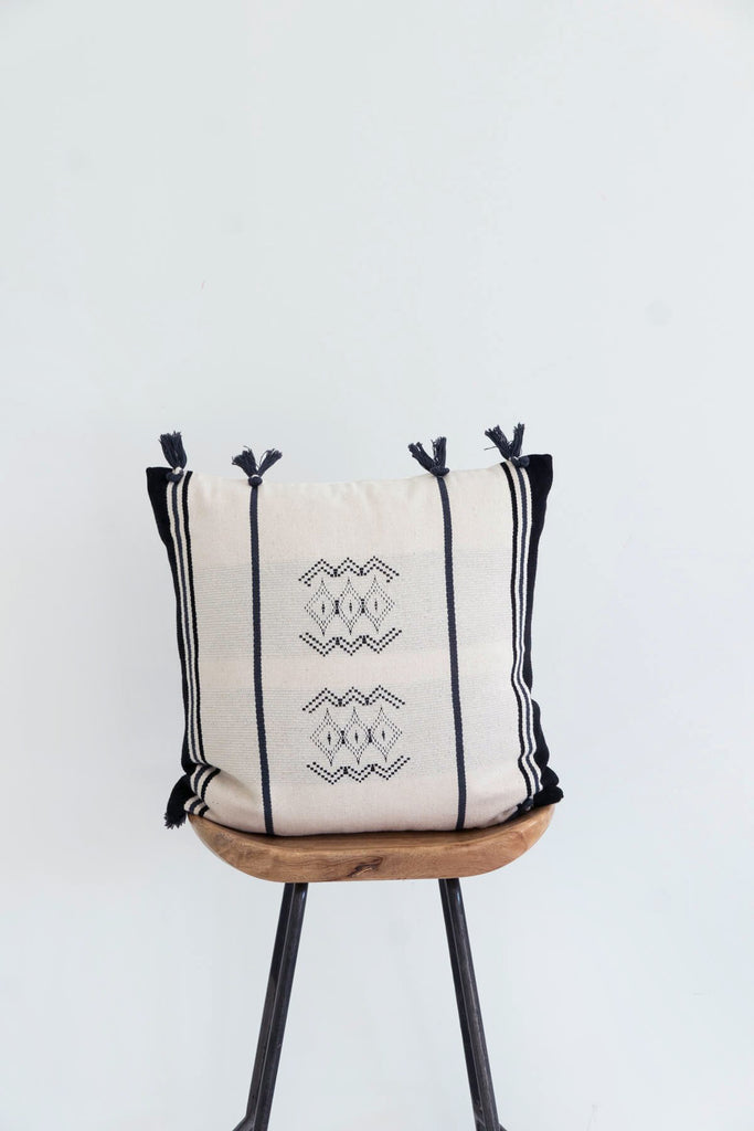 Beaufort Cushion in Cream with Tassels