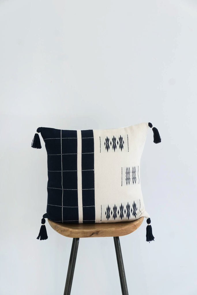 Handwoven Cushion in Midnight and Ivory