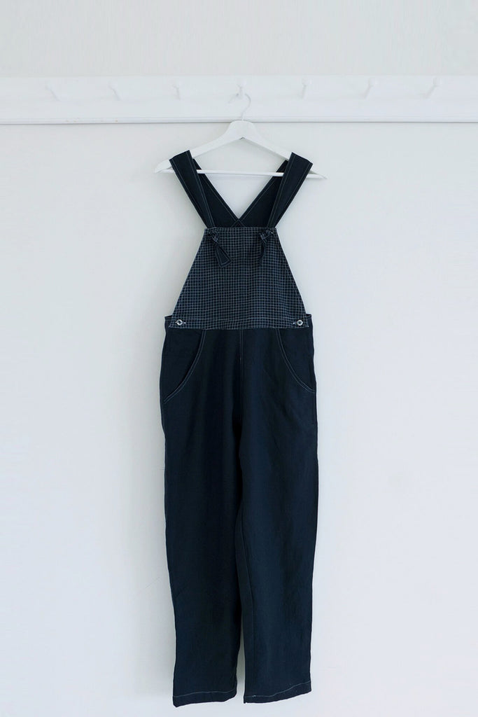 Handloom Linen Overalls in Midnight Blue
