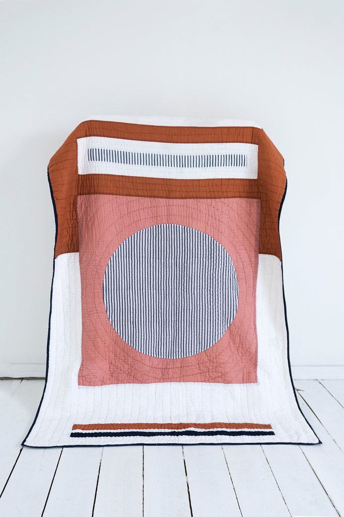Block Print Patchwork Quilt in Coral & Rust