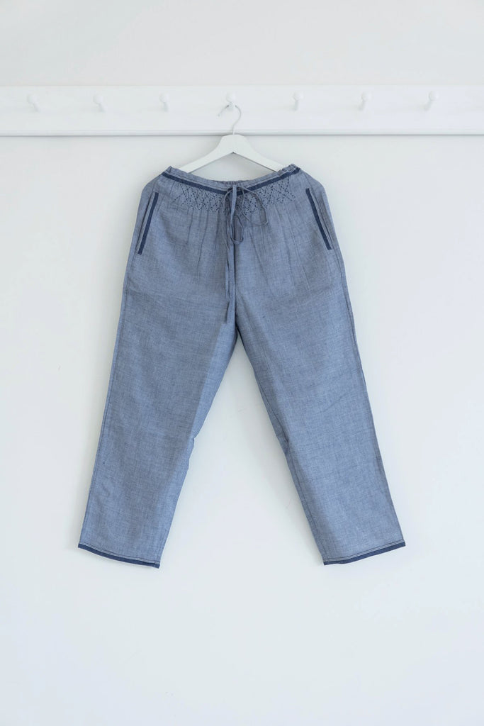 Smocked Drawstring Trousers in Khadi Cotton